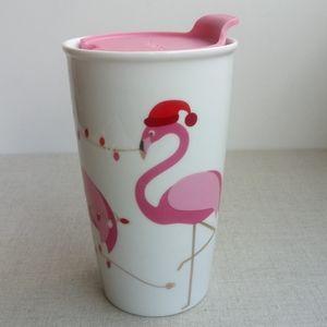 David's Tea Holiday Flamingos Ceramic Travel Mug